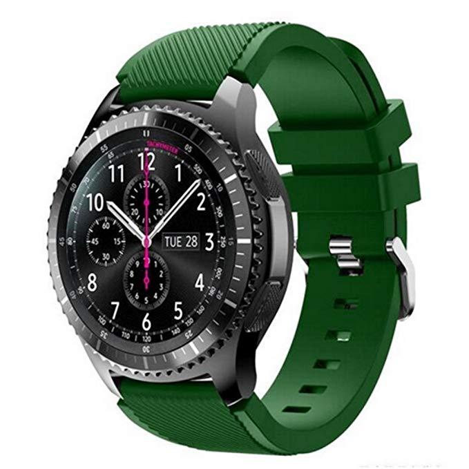 Силиконовый ремешок для Samsung Gear S3 / Samsung Galaxy Watch 46mm тёмно зеленый
