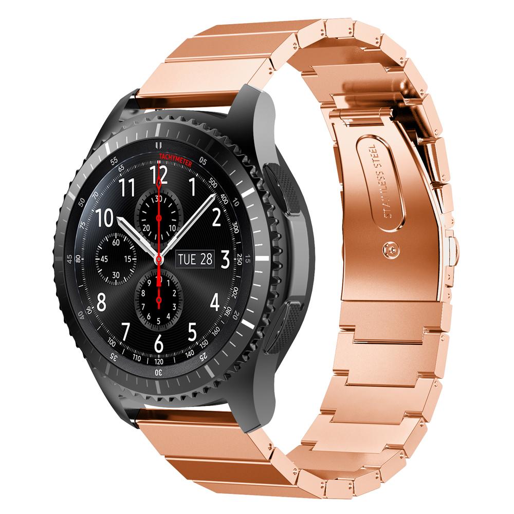 Металлический ремешок Stainless Steel для Samsung Gear S3 / Samsung Galaxy Watch 46mm розово-золотой
