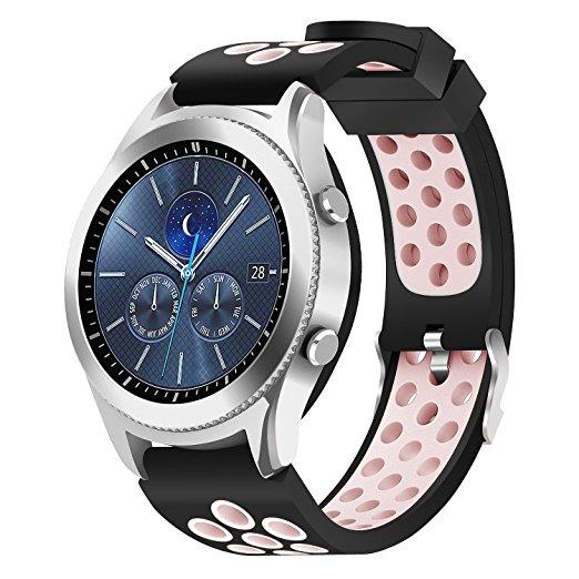 Силиконовый перфорированный ремешок для Samsung Gear S3 / Samsung Galaxy Watch 46mm розовый