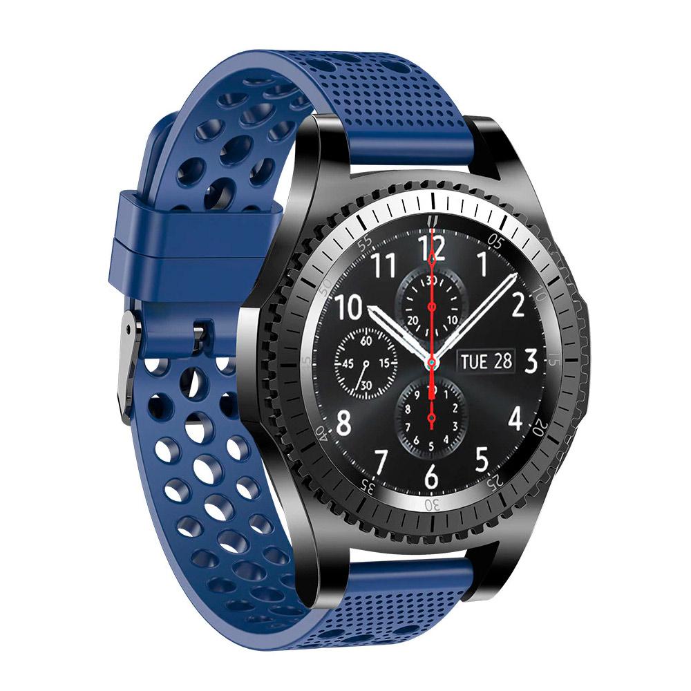 Силиконовый double перфорированный ремешок для Samsung Gear S3 / Samsung Galaxy Watch 46mm синий