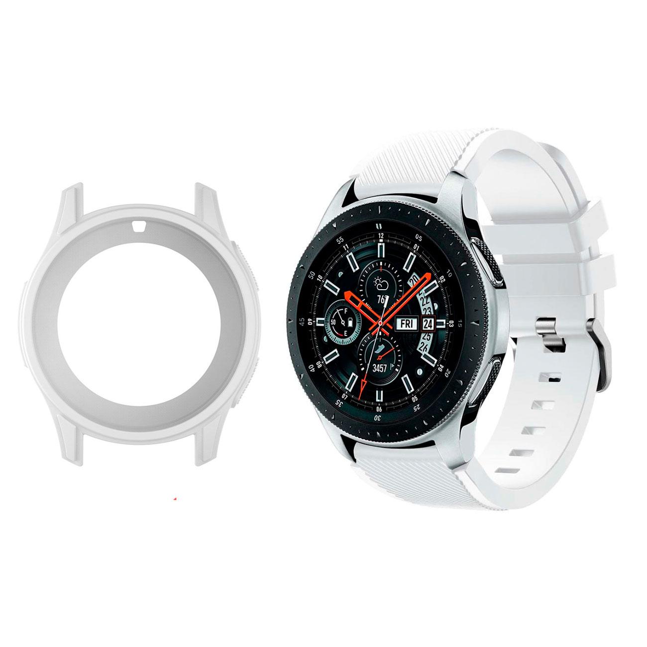 Комплект: силиконовый ремешок белый + чехол белый для Samsung Gear S3 Frontier / Samsung Galaxy 46mm