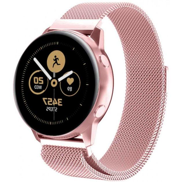 Металлический ремешок Milanese Loop для Samsung Gear Sport / Samsung Galaxy Watch 42mm розовый